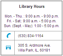 Link to Villa Park Public Library Home Page